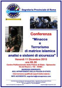"""Conferenza di studio dal tema """"Minacce e Terrorismo di matrice Islamica, Analisi e Sistemi di Sicurezza"""""""