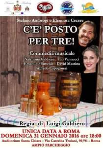 """Teatro, """"C'è posto per tre!"""" con Stefano Ambrogi e Eleonora Cecere, commedia musicale all'Auditorium Santa Chiara, regia di Luigi Galdiero"""