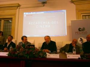 Momenti della presentazione dell'Accademia del Cinema alla PEGASO Università