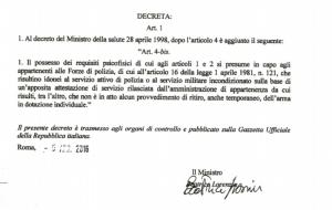 """Decreto del Ministro della Sanità 28 aprile 1998 concernente """"Requisiti psicofisici minimi per il rilascio ed il rinnovo dell'autorizzazione al porto di fucile per uso di caccia e al porto d'armi per uso difesa personali""""."""