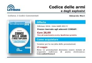 """Codice delle Armi e degli Esplosivi """"La Tribuna"""", offerta esclusiva per gli iscritti alla CONSAP"""