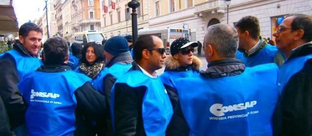 Manifestazione CONSAP contro i tagli alla sicurezza