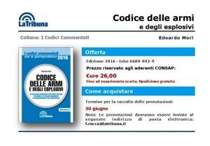Promo Codice Armi CONSAP al 30 6 2016