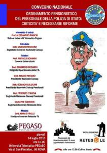 Ordinamento pensionistico del personale della Polizia di Stato: criticità e necessarie riforme, convegno CONSAP all'Università PEGASO di Roma