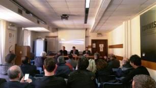 Assemblea sindacale CONSAP presso la Questura di Roma, da sinistra Pantano, Innocenzi e Guerrisi