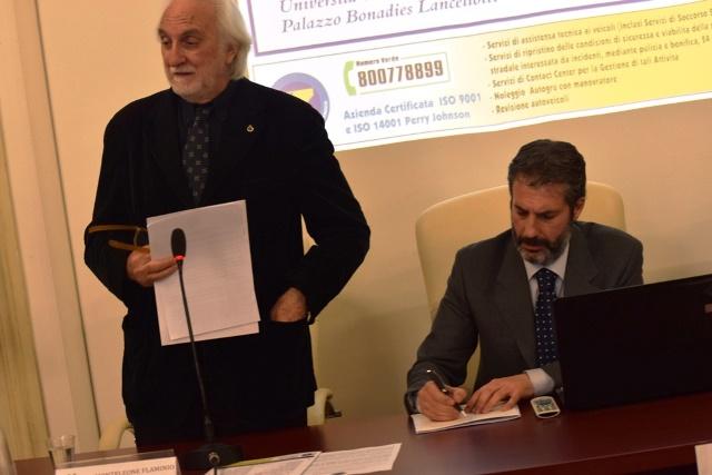 da sinistra il Rettore dell'Università Telematica Pegaso Prof. Alessandro Bianchi, il Segretario Generale Aggiunto CONSAP di Roma Gianluca Guerrisi