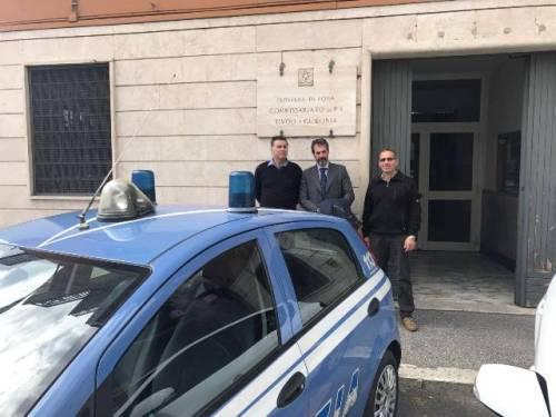 Esterno del Commissariato P.S. Tivoli - Guidonia, da sinistra Segala, Guerrisi e Cirignoli