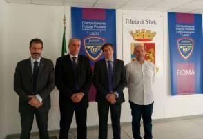 Nella foto da sinistra: Guerrisi, il Dirigente della Polizia Postale Lazio dr Nicola Zupo, il Vice Dirigente dr Massimo Bruno e Gargano