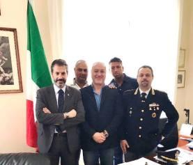 nella foto da sinistra: Guerrisi, Castelli, Abate, Masiello e il Dirigente U.P.G.S.P. dr Massimo Improta