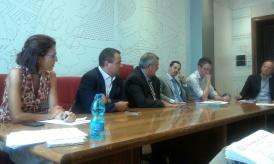 L'amministrazione P.S. Questura di Roma al tavolo di consultazione: da sinistra dott.ssa Lograno, dr Improta, il Questore dr Marino, Ing. Di Romualdo e il dr Mariani