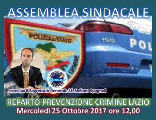 Assemblea Sindacale CONSAP al Reparto Prevenzione Crimine Lazio per giovedì 25 ottobre 2017