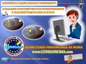 Servizio CONSAP assistenza per compilazione e inserimento per le domande ai concorsi per Vice Sovrintendente e Vice Ispettore della Polizia di Stato