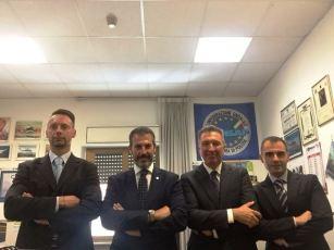 Nella foto da sinistra: Profili, Turicchi e Celestino della Sezione CONSAP presso la Banda Musica della Polizia di Stato con il Segretario Generale Aggiunto di Roma Guerrisi