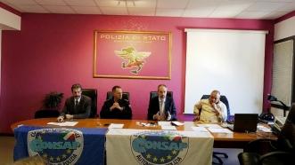 Reparto Prevenzione Crimine Lazio, assemblea sindacale, da sinistra Guerrisi, il dirigente del Reparto dr Zaccaria, Spagnoli e Castelli
