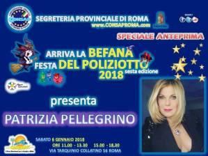 La celebre attrice Patrizia Pellegrino presenta la sesta edizione di Arriva la BEFANA Festa DEL POLIZIOTTO 2018