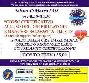 Corso certificativoall'uso del Defibrillatore e Manovre Salvavita - B.S.D.