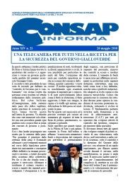 CONSAP Informa n. 21 del 26 Maggio 2018