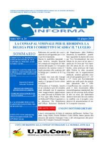 CONSAP Informa n. 24 del 16 Giugno 2018, Agenzia di Informazione della Confederazione Sindacale Autonoma di Polizia