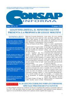 CONSAP Informa n. 25 del 23 Giugno 2018