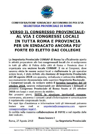 Comunicato Avvio Congressi Locali CONSAP Roma