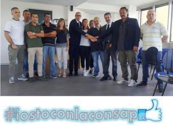 La nuova sezione CONSAP presso l'Ufficio Divisione Stranieri della Questura di Roma. Al centro Alessandro Veroli riconfermato all'unanimità Segretario Locale con i suoi collaboratori