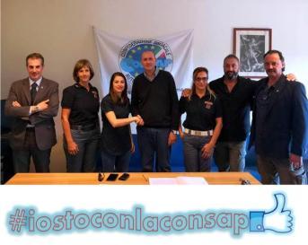 Congresso Locale CONSAP al Commissariato di P.S. Romanina: da sinistra: Guerrisi, Amenta, Scoditti, Salvatori (Drago) con una parte dei colleghi iscritti al sindacato