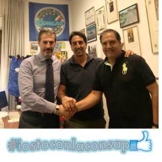 Nella foto da sinistra: Guerrisi - Segretario Generale Aggiunto Roma, Pettinato e Marcucci della CONSAP alla Divisione Polizia Amministrativa e Sociale c/o Questura di ROMA