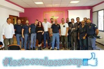 Congresso Locale CONSAP al Reparto Prevenzione Crimine LAZIO: da sinistra Salvatori (Drago), Cento, Scoditti, De Santis, Astorino, Castelli, Marrucci, Guerrisi