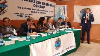 Nella foto l'intervento di Gianluca Guerrisi, Segretario Generale CONSAP di Roma, eletto Dirigente Nazionale Coordinatore per l'Italia Centrale, componente dell'Esecutivo Nazionale e Consigliere Nazionale