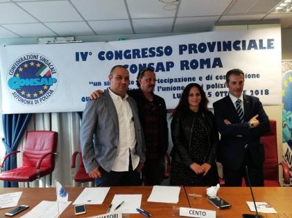 La nuova Segreteria CONSAP di ROMA: Gianluca Guerrisi - Segretario Generale, Gianluca Salvatori - Segretario Generale Vicario, Carolina Cento -Segretario Provinciale e Gianluca Castelli - Segretario Provinciale