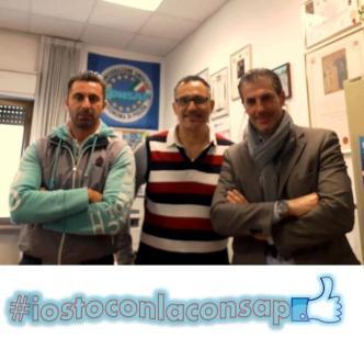 Nella foto da sinistra: Risuleo, Barillari e Guerrisi nella sede della CONSAP a Roma