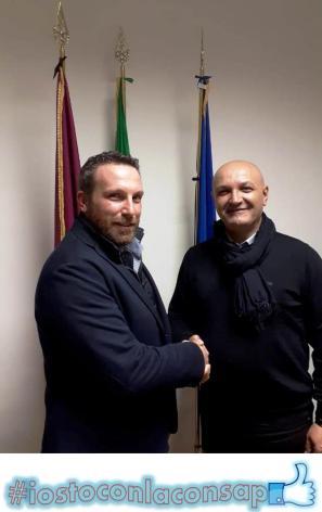 Ispettorato P.S. Viminale - Il neo Segretario Locale Franco Di Giulio con il Coordinatore Nazionale della Consulta dei Tecnici Polizia di Stato CONSAP dr Secondino Ricci