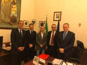 Senato della Repubblica, Ispettorato di P.S. da sinistra il dr Ditta, Guerrisi, Luciani, Castelli e il dr Forgione