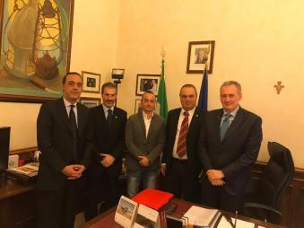 Senato della Repubblica, Ispettorato di P.S. da sinistra: il dr Ditta, Guerrisi, Luciani, Castelli e il dr Forgione