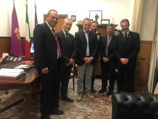 Viminale, Ispettorato di P.S. da sinistra: Castelli, il dr Piccolotti, Miccinilli, Di Giulio, il dr Montanarini e Guerrisi