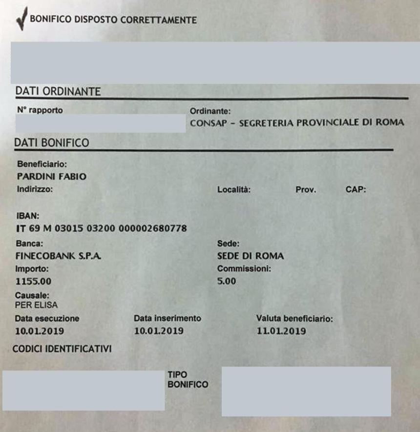 Befana del Poliziotto CONSAP 2019, copia bonifico inviato alla famiglia Pardini di tutto il ricavato alla kermesse