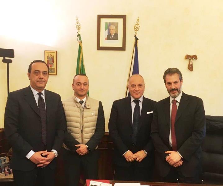Senato della Repubblica, Ispettorato di P.S. da sinistra: il dr Ditta, Luciani (CONSAP), il dr Belfiore e Guerrisi (CONSAP)