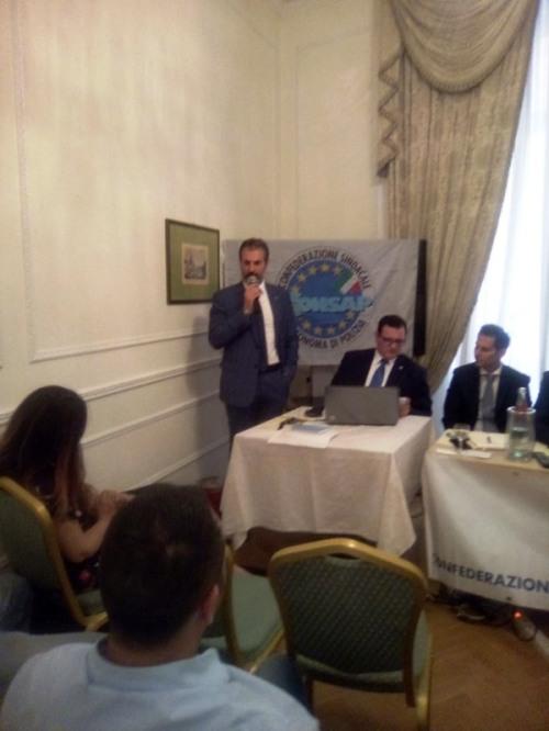 Il Segretario Generale di Roma e Dirigente Nazionale Coordinatore per l'Italia Centrale GUERRISI durante il suo apprezzato intervento