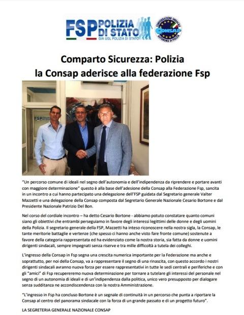 La CONSAP aderisce alla Federazione FSP