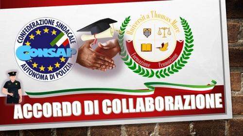 CONSAP Roma e UPTM (Università Popolare Tommaso Moro): siglato l'accordo di collaborazione didattico-scientifica