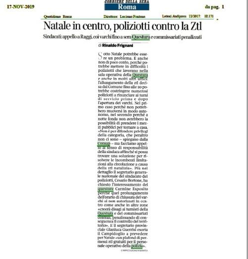 Articolo Corriere Sera ZTL - CONSAP Roma
