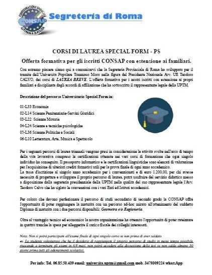 Diploma di Maturità con percorsi disponibili: accordo CONSAP Roma e UPTM (Università Popolare Tommaso Moro)