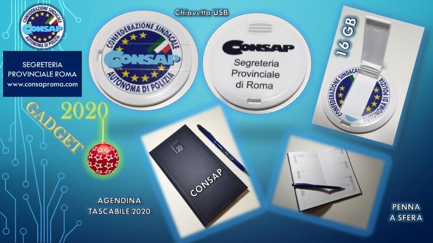Gadget CONSAP Roma, per tutti gli iscritti al sindacato in regola con il tesseramento per l'anno 2020