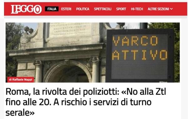 Roma, la rivolta dei poliziotti: «No alla Ztl fino alle 20. A rischio i servizi di turno serale»