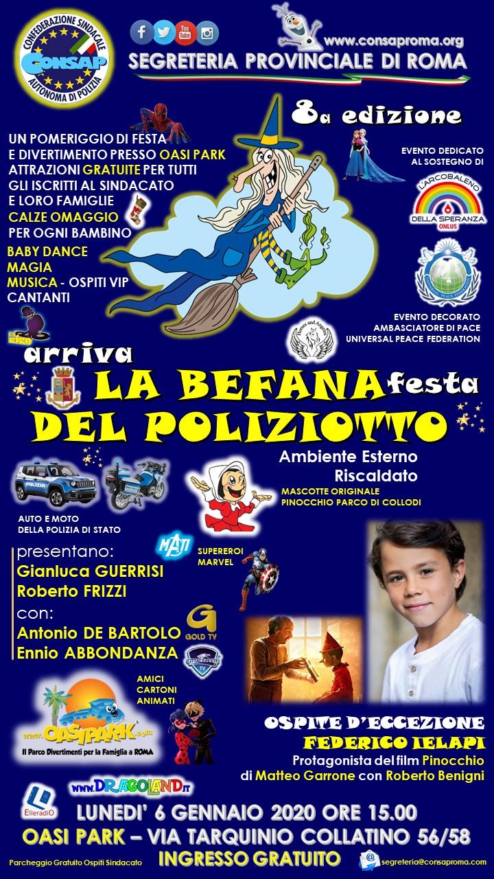 Arriva LA BEFANA - Festa DEL POLIZIOTTO CONSAP - 8a edizione - 6 Gennaio 2020 ore 15.00 - Ospite d'Eccezione Federico IELAPI