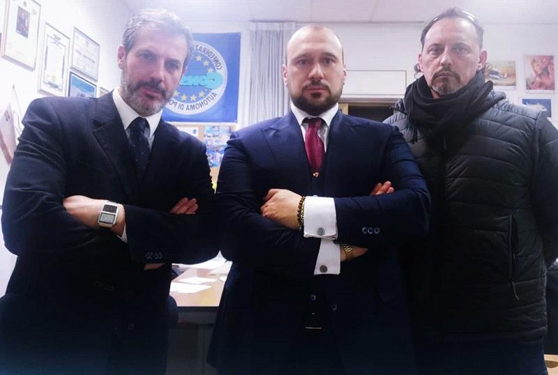Nella foto da sinistra: il Segretario Generale Provinciale di Roma GUERRISI, l'Avvocato CALVO e il Segretario Generale Provinciale Aggiunto di Roma SALVATORI