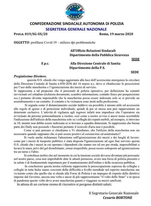 Coronavirus - Utilizzo DPI - Problematiche