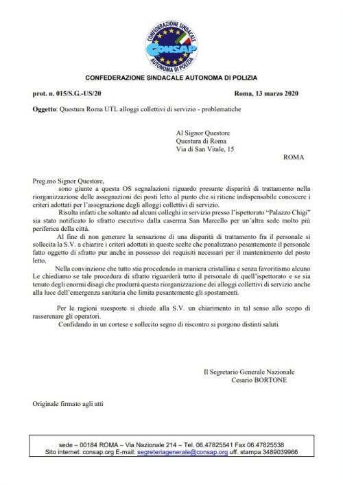 Lettera Alloggi - 13 Marzo 2020 - Segnalazione CONSAP