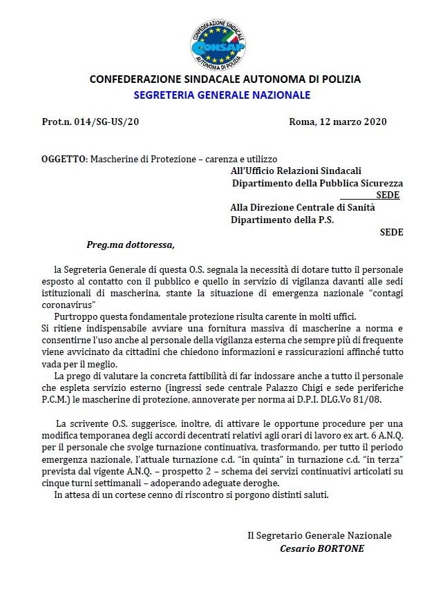 Lettera Turno in Terza e Mascherine Palazzo Chigi