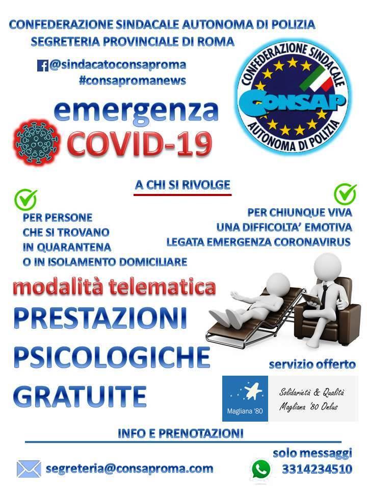 Manifesto del protocollo d'intesa tra CONSAP Roma e Associazione di Volontariato Magliana'80 Onlus - Emergenza COVID-19